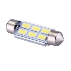 Ampoule navette C10W 39mm à 6 leds 5630 24 volts