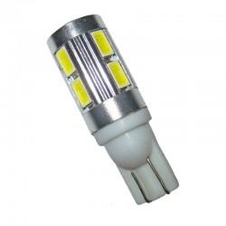Ampoule Wedge T10 W5W W16W 10 leds blanches 5630 9 à 30 volts