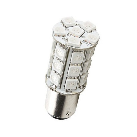 Ampoule led P21W BA15S à 27 leds Rouges 9-30v