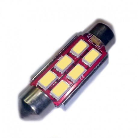 Ampoule Navette (festoon) C5W, C10W à 6 leds Ambre 9-30v