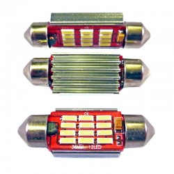 Ampoule Navette (festoon) C5W, C10W à 12 leds 4014 9-30v