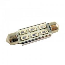 Ampoule navette C10W 41mm à 6 leds 5630 Bleues