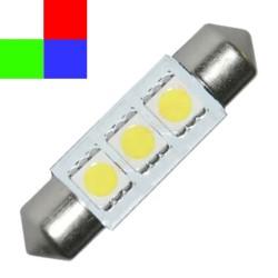 Ampoule navette C5W 36mm à 3 leds 24 volts