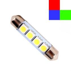 Ampoule navette C5W 42mm à 4 leds 24 volts