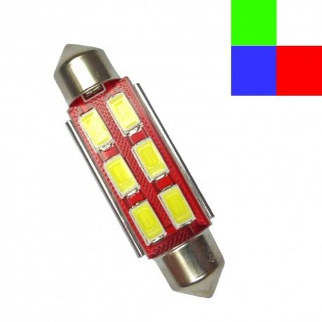 Navette (festoon) C10W 41mm à 6 leds 5630 24 volts